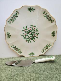 """Lenox Holiday China, Gourmet 12"""" Holly Berry Cake/Serving Pl"""